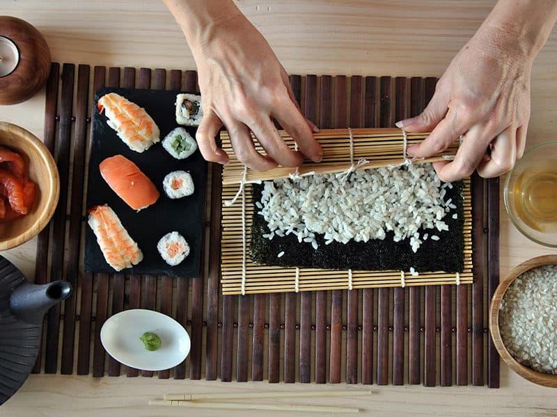 Cooking Sushi Rice Salmon