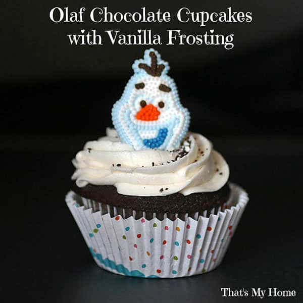 Olaf Chocolate Cupcakes with Vanilla Frosting