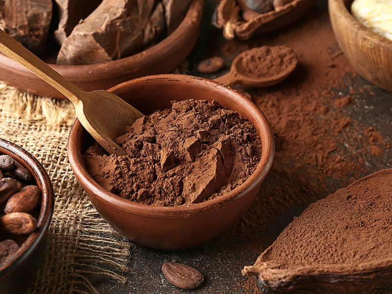 Bowl Cocoa Powder on Table