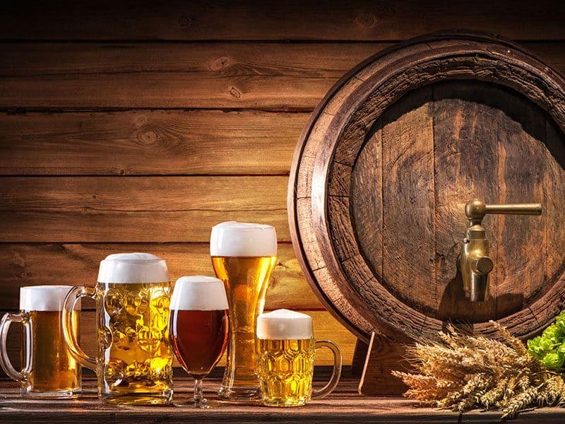Beer Barrel Glasses Wheat Hops