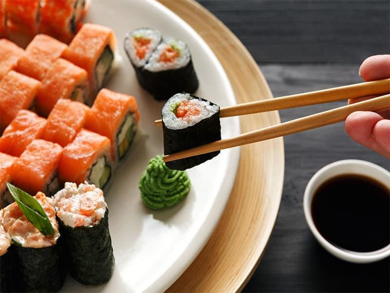 Eating Roll Sushi Japanese